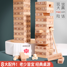 Children's puzzle stacked high building blocks tower, parents and children cauldron bottom draw salary game stacked music toys adult desktop Tour