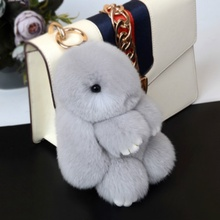 Key chain pendant imitates Rex Rabbit Fur and grass to load dead rabbit genuine Plush Bunny bag car pendant cute rabbit