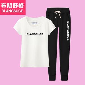 运动套装女夏季2017新款时尚韩版长裤休闲服宽松短袖七分裤两件套夏季运动服