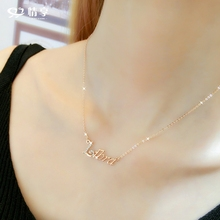Love accessories Korean fashion letter pendant girl heart rose gold necklace girl short style all over the collar chain