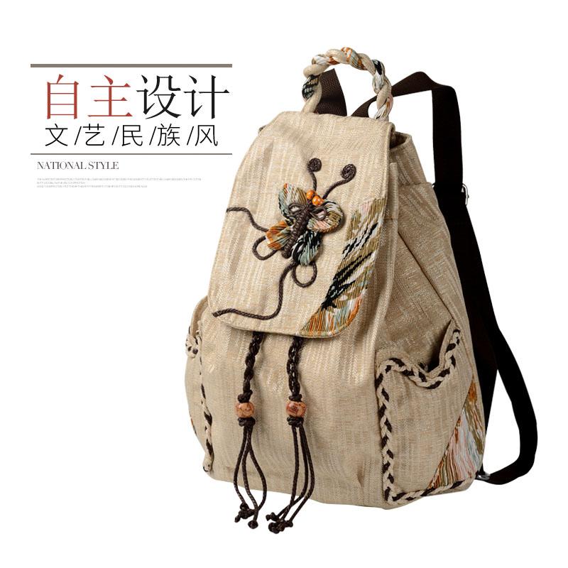 复古民族风帆布双肩包束口女士文艺韩版学生书包旅行休闲时尚背包