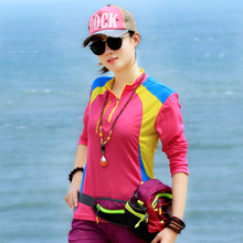 Outdoor long sleeve leisure sports, color fast drying T-shirt, women's short sleeved running fast drying clothes, big code, air and sweat.