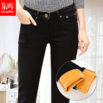 Thickened and velvet pencil high waist skinny black warm autumn and winter pants