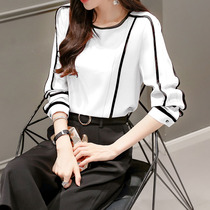 Korean version of the Joker in the spring loose thin stitching lace shirt