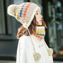 Hat Women's autumn and winter Korean version fashionable riding cold proof wool hat cute warm and windproof knitted hat in winter