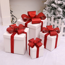 Christmas scene decorations Christmas tree white gift box gift box shopping window display props
