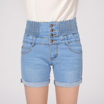 Spring-summer elastic high waist slim loose fat mm straight hot pants