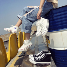 High top Korean new flat bottom canvas shoes