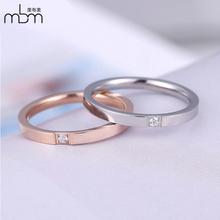 Diamond ring female Korean simple titanium steel plated 18k rose gold tail ring Chaoren small finger single ring can be engraved