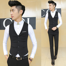 Spring and autumn Korean version of fashion fit suit suit vest