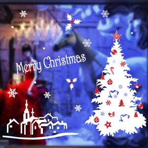 圣诞节装饰品 贴图静电贴 橱窗玻璃贴画贴纸圣诞树圣诞老人头贴圣诞树