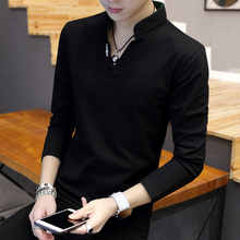 Men's T-shirt, long sleeve, V-collar, dress, sweater, fall dress, 2019, Korean version, self-cultivation, autumn dress, undercoat, fashion and protective clothing
