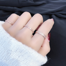 Japan and South Korea simple basic frosted titanium steel plated 18k rose gold fine index finger ring for female and male lovers end ring ins
