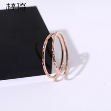Japanese and Korean personality trendsetter simple fine index finger ring female titanium steel 18k rose gold tail ring joint ring student