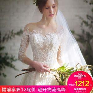 婚纱礼服新娘2017新款冬季结婚拖尾公主梦幻甜美一字肩森系轻婚纱婚纱