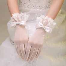 2018 new bride wedding dress, wedding gloves, lace, short white gauze bow knot accessories.