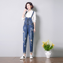 New spring straps jeans high waist skinny straight leg holes in pants pants pants