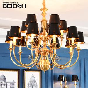 美式复古全铜吊灯欧式客厅艺术纯铜灯北欧简约奢华餐厅卧室铜灯具餐厅吊灯