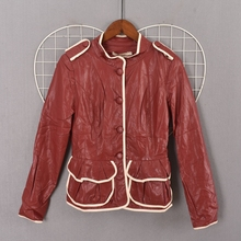 Spring and autumn simple style foreign trade single breasted solid color women's leather clothing