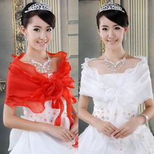 Spring and Summer New Wedding Dress Shawl Thin Red and White Dress Coat Bride Bride Shawl Marriage Accessories