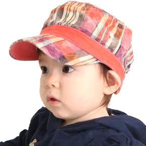 2014韩版新款儿童超帅气条纹平顶帽 男童 女童 宝宝太阳帽遮阳帽