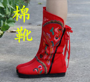 within the new and old Beijing shoes embroidered boots boots national wind barreled higher in autumn and winter wedding red cotton boots