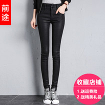 Spring high waist black velvet Korean leather pants