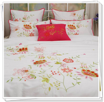 Foreign trade brand bedding white combed cotton satin embroidered duvet cover four-piece 1.5 1.8 bed Butterfly fly fly