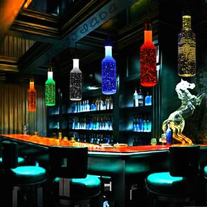 led彩色酒吧台吊灯酒柜台灯3w红黄蓝绿光舞台KTV水晶瓶酒瓶七彩灯酒瓶吊灯