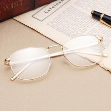 Fashionable and artistic round metal spectacle frame retro flat mirror fashion men's and women's decorative glasses can be equipped with short-sighted full frame