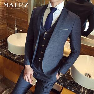 西服套装男士新郎结婚礼服修身韩版发型师西装三件套定制休闲正装西装