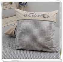 New French pastoral dyed gray cotton Embroidered Pillow Cushion cover 55-65CM size small gardens