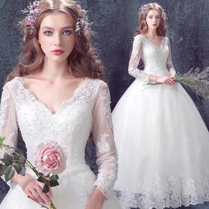 天使嫁衣 仙仙透视 公主新娘冬天冬季蕾丝长袖齐地婚纱礼服7683婚纱