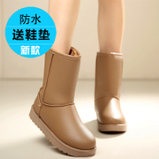 New waterproof snow boots women winter plus thick warm cotton velvet boots PU leather women's heavy-bottomed non-slip boots child