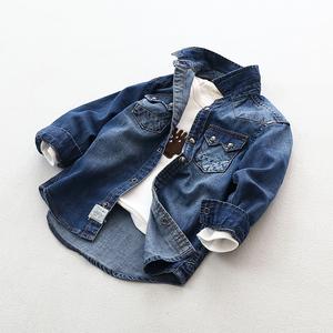 高品质欧美童装超软男女童牛仔衬衫纯棉中大童宝宝儿童长袖衬衣儿童衬衫