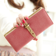 Ladies purse female long section of the Korean version of the lovely frosted pum with student short Wallet Purses two fold vertical section