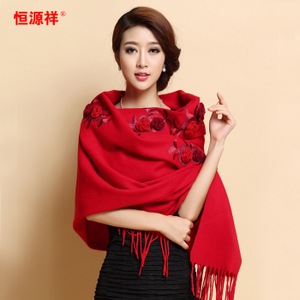 恒源祥羊毛披肩围巾两用加厚超大长款绣花女士围脖秋冬季百搭红色女士围巾