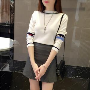2017秋冬季新款韩版毛衣针织短皮裙百搭洋气时尚气质两件套装女潮套装裙