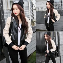 New Korean color contrast Motorcycle Jacket