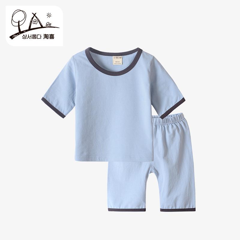儿童夏季家居服短袖套装男童女童宝宝睡衣夏薄款幼儿小孩2-3-4岁