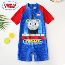 トーマスの子供の水着の男の子、中小の子供のワンピースの水着、赤ちゃんの日焼け止めの漫画の水着のセット