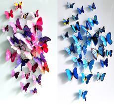 装饰蝴蝶 立体仿真3D墙贴窗帘冰箱贴12只套装客厅婚房 4组包邮