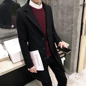 秋冬季披风男士中长款风衣韩版修身学生大衣男款加厚毛呢子外套潮男士毛呢外套