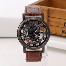 Fashion personality leather strap non mechanical hollow out watch men's business leisure gear electronic quartz watch package