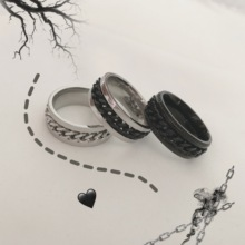 Instudios.19ss Korean ins retro trendsetter's small accessories can rotate the chain ring for men and women