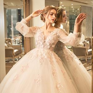 媛菲莎妮婚纱礼服2017新款公主韩版新娘结婚包肩长袖蕾丝显瘦齐地婚纱