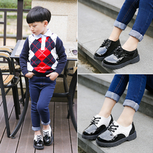 Spring and autumn new children's small leather shoes black and white children's upper soft sole non slip single shoes boy's fashion single shoe trendy shoes