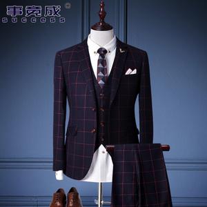 春季西装男套装英伦三件套男士西服套装韩版修身伴郎新郎结婚礼服西服套装
