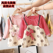 Girls' autumn and winter new style western style Plush strap dress