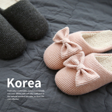 Lovely home slippers female winter indoor couples home month slippery wool warm cotton slippers